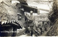 """Men of """"The Iron Division"""" in a forward command position in Bois Brulé"""