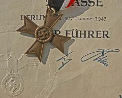 War Merit Cross and Award Document