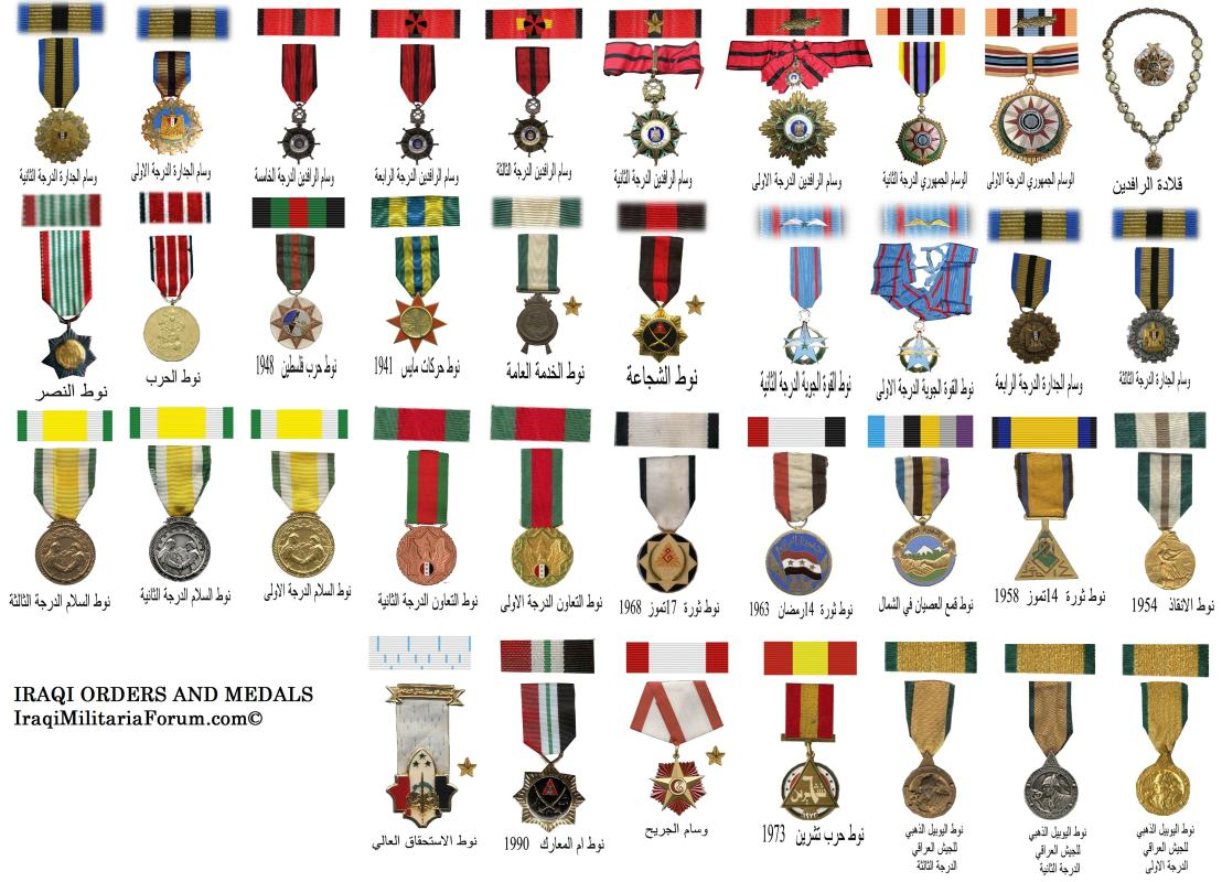 Iraqi military orders medals and ribbon chart middle east arab