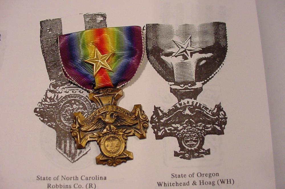 Oregon State WW1 Service Medal - Gold Star - Planck.JPG