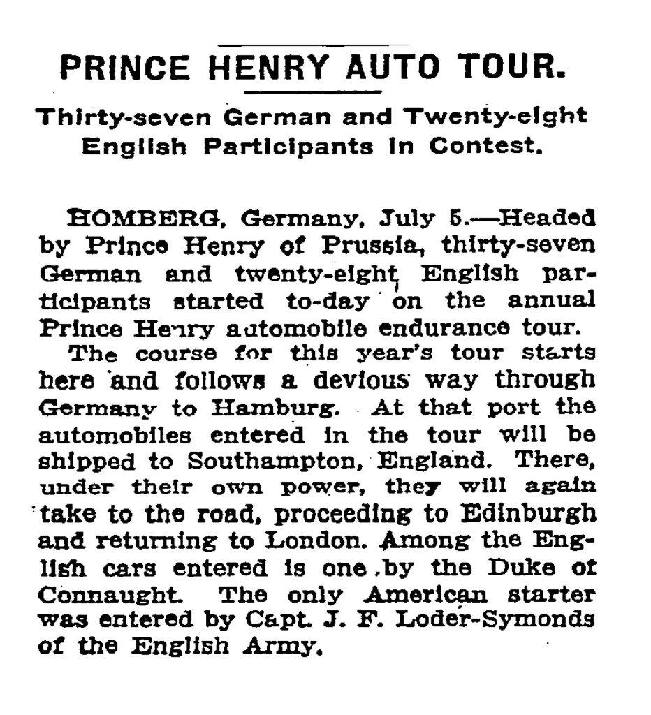 Medals for the successful participants of the Prince Henry ...