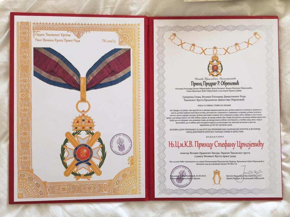 08 - Cavalierato di Gran Croce dell'Ordine della Croce di Takovo.jpg