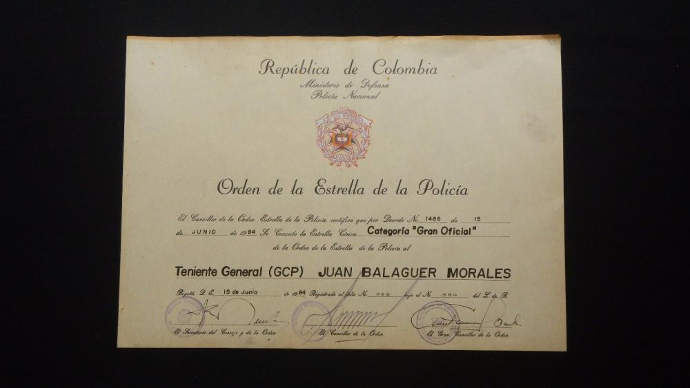 COLOMBIA DIPLOMA GRANTING THE AWARD ORDER OF THE STAR OF THE POLICE.jpg