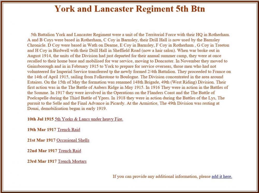 Yorks & Lancaster Rgt. 5th Btn info.JPG