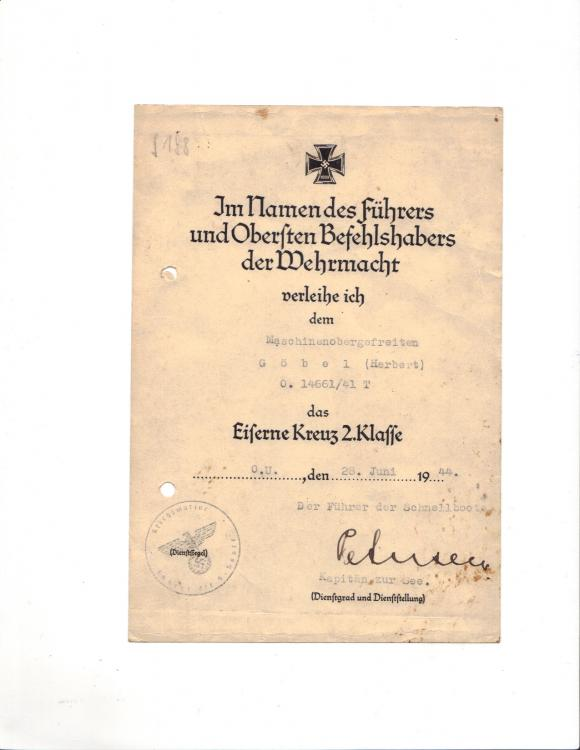 H. GOBEL's Kriegsmarine EK.2 DOCUMENT (Obv. PHOTO, 01 - 2017 ).jpg