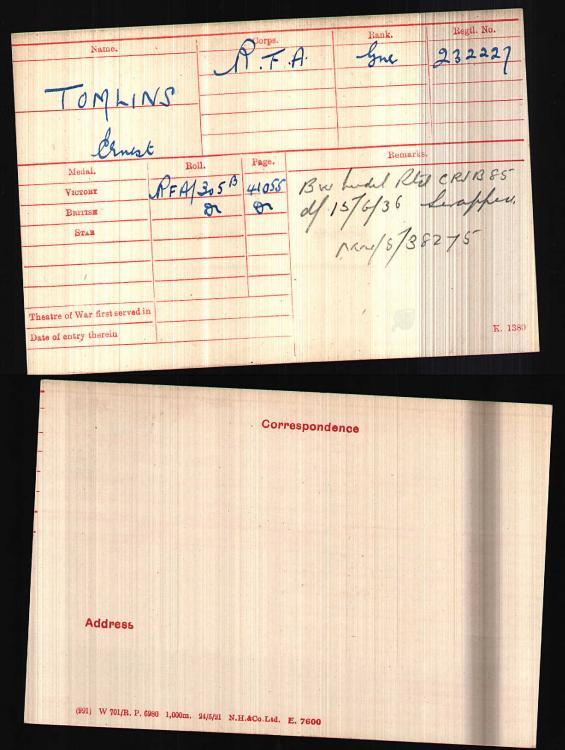 British WW1 Medal Rolls - Gnr E Tomlins 232227.jpg