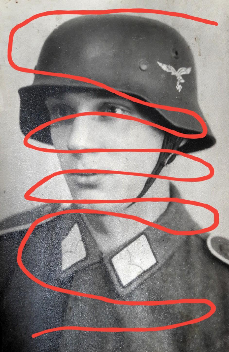 2 Portrait Photos with Stahlhelm - Hermann Göring Division