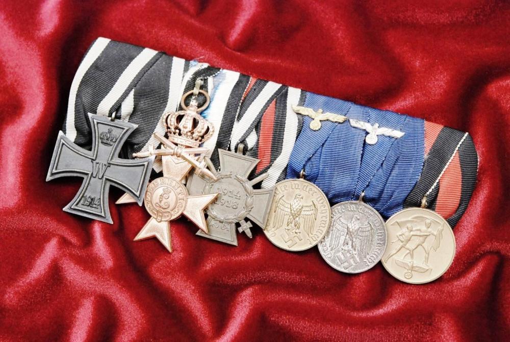 EK2, Bavarian Military Cross of Merit 4th Class, HK, 12 Year Service Medal, 4 Year Service Medal, Occupation of Sudetland Medal A.jpg