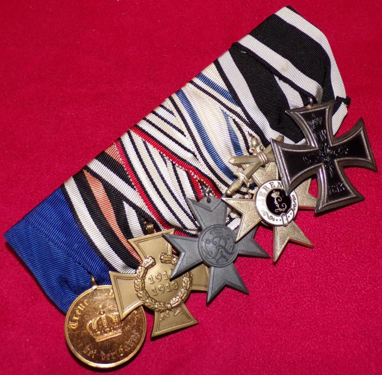 NC FRACK BAR EK2, BAVARIAN MERIT CROSS 2nd CL, WAR AID, HK, PRUSSIAN 12 YR SERVICE MEDAL A.JPG