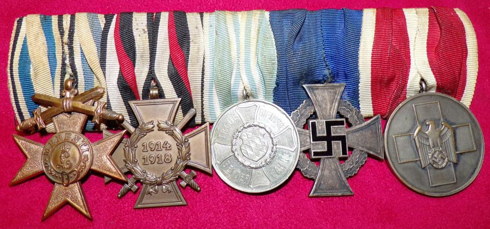 Bavarian Cross of Merit 4th Class, HK, Bavarian 9 yr, 25 yr Long Service Cross, Social Welfare Medal A.JPG