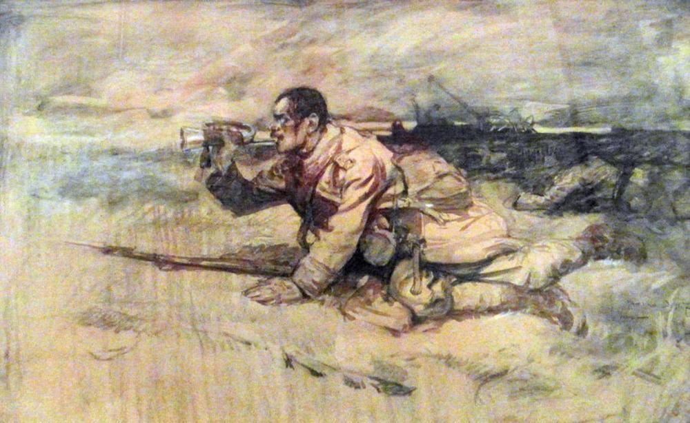 1917_-_Ion_Stoica_Dumitrescu_-_Ultimul_atac_al_gornistului_rănit_Marele_Razboi.jpg