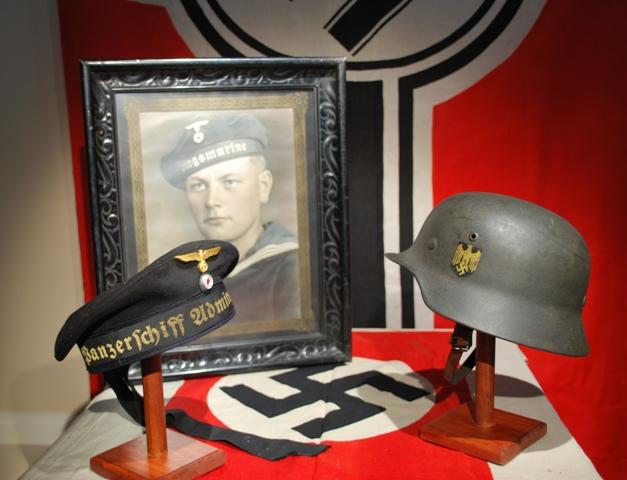 Kriegsmarine Sailor with Panzerschiff Admiral Scheer Donald Duck Cap and KM Steel Helmet.