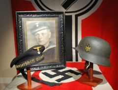 Kriegsmarine Sailor with Panzerschiff Admiral Scheer Donald Duck Cap and KM Steel Helmet.