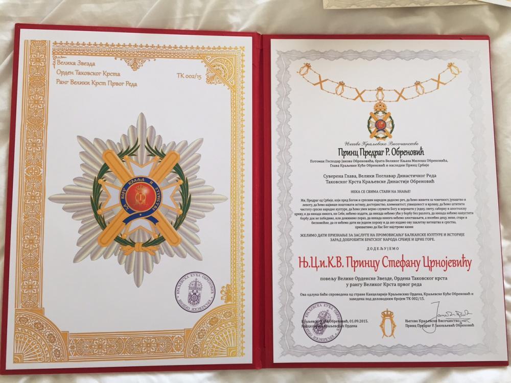 09 - Cavalierato di Gran Croce dell'Ordine della Croce di Takovo.jpg