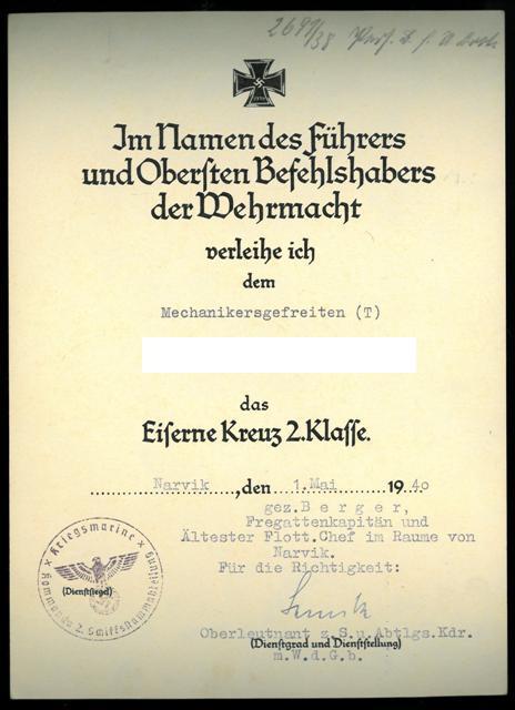 Urkunde EK II Klasse_Zerstörer Wolfgang Zenker.JPG
