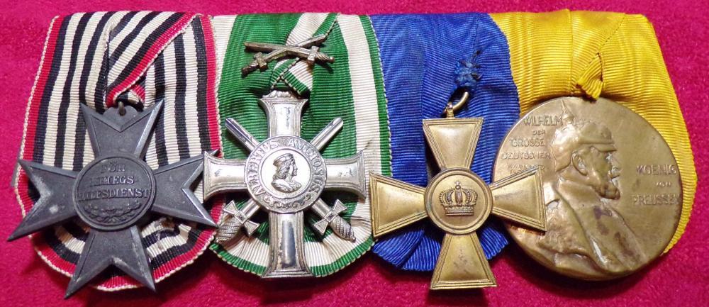 War Aid Cross, Saxon Albert Order wSwords 3rd Class, Prussian 15 yr, Centenial Medal A.JPG