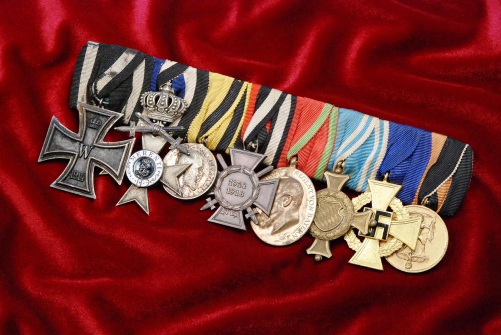 EK2, Bavarian Military Cross of Merit 3rd Class, Württemberg King Wilhelm II Silver Service Medal, HK, Bavarian 70th Jubilee, Bav 12 Yr Service Cross, 40 Yr Long Service Cross, Occ. of Sudetland AA.jpg