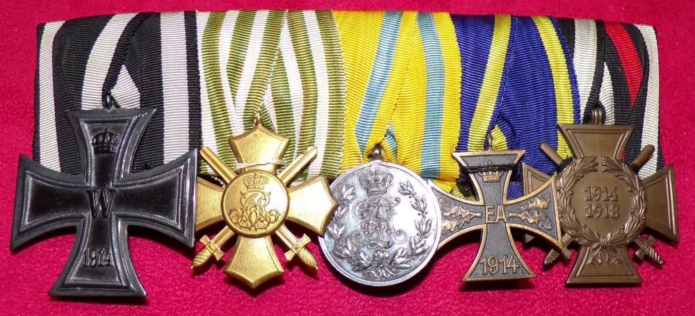 EK2, Saxon General Honor Cross wSwords, Silver Frederick August Medal, Brunswick War Merit Cross, HK A.JPG