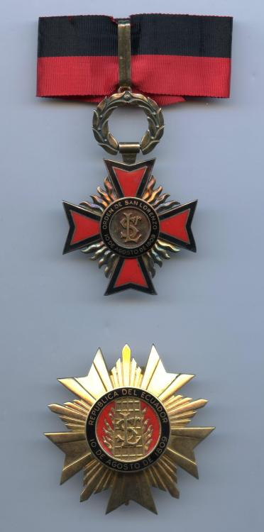 Ecuador Order of San Lorenzo 2nd Class set.jpg