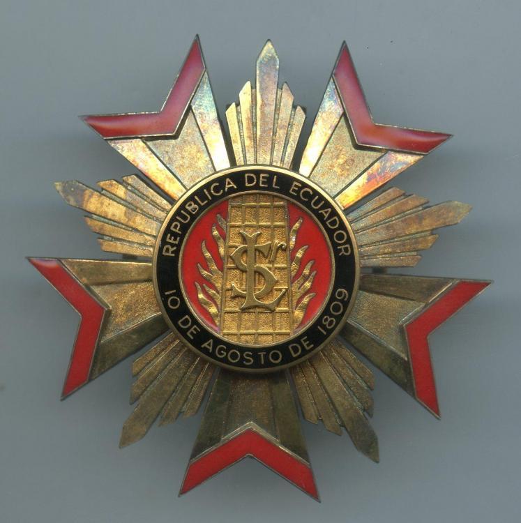 Ecuador Order of San Lorenzo 1st Class breast star obverse.jpg