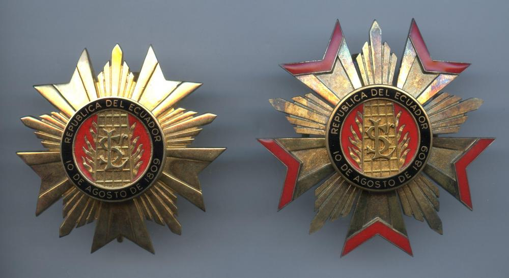 Ecuador Order of San Lorenzo 1st & 2nd Class breast star side by side.jpg