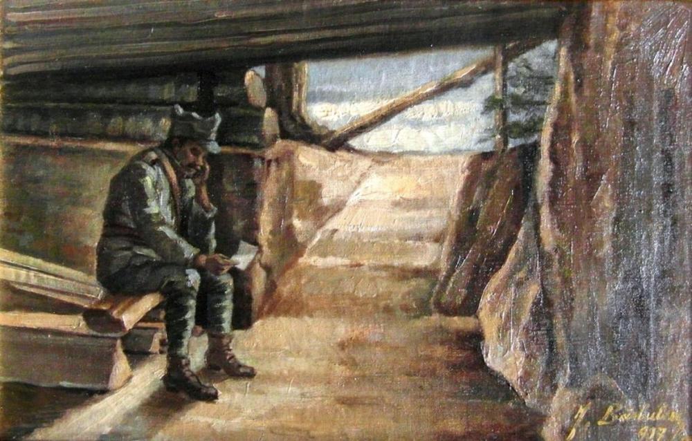 1917_-_Ion_Barbulescu_(B_Arg)_-_Soldat_citind_scrisoare_în_adapost_la_Marasesti_Marele_Razboi.jpg