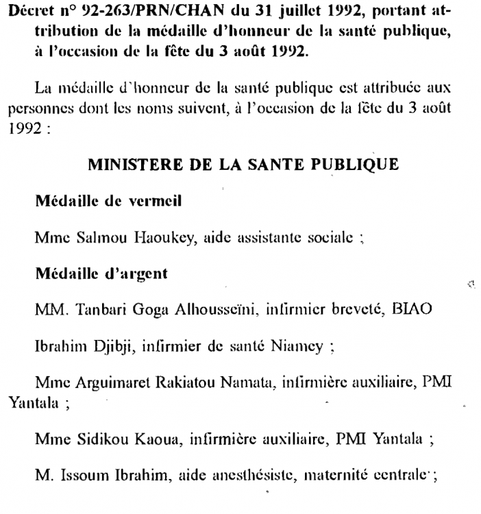 Niger Medal of Honour of Public Health Text 1992 a.png