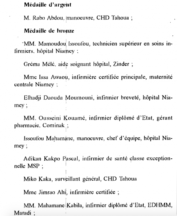 Niger Medal of Honour of Public Health Text 1992 b.png