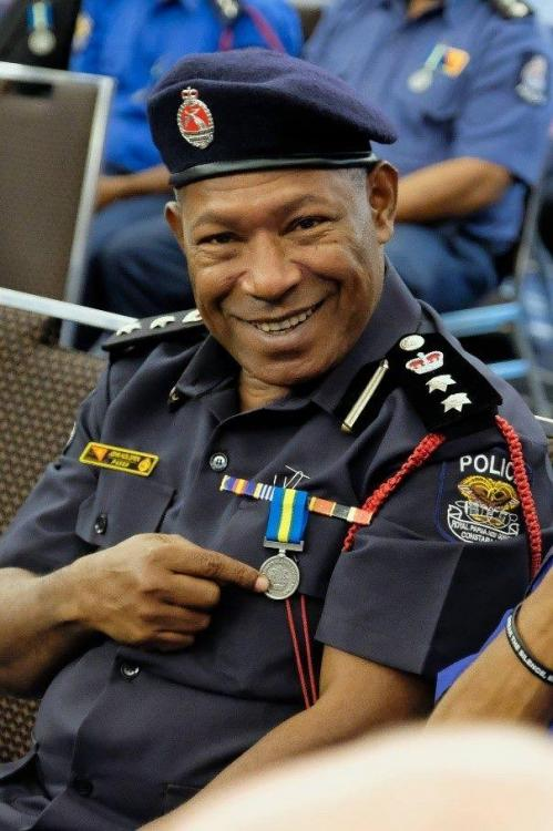 Solomon Isl Royal Solomon Islands Police Force International Law Enforcement Cooperation Medal on a PNG Officer.jpg