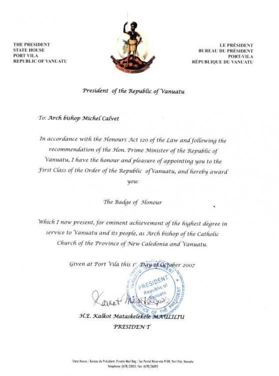 Vanuatu Badge of Honour Award Document to Bishopof Noumea 2007.jpg