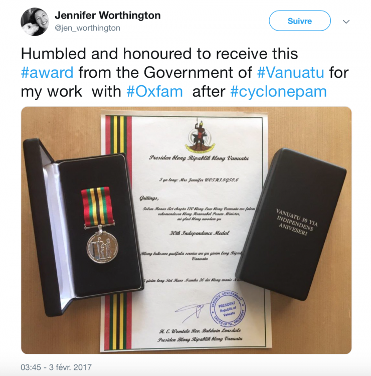 Vanuatu Medal for 30 Years Independence Vanuatu to Jennifer Worthington from OXFAM.png