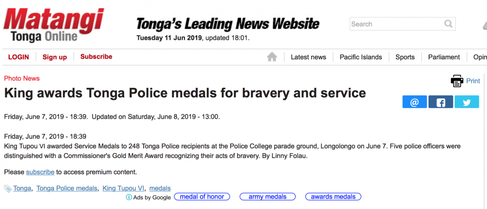 Tonga Article about 7 June 2019 First Ever Presentation of Police LSGC Medal.png