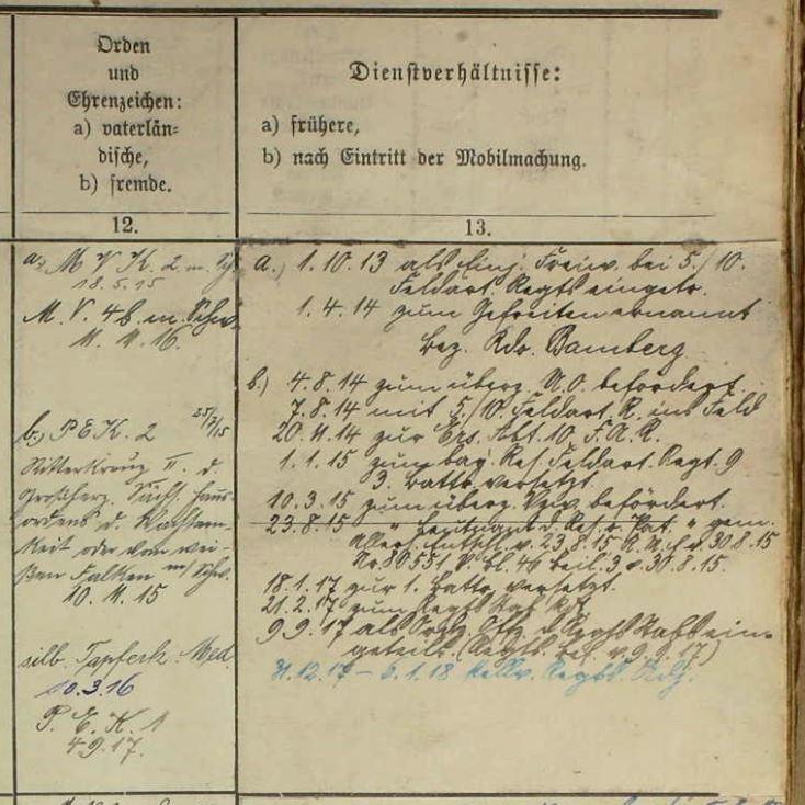 Kriegsstammrollen, 1914-1918. Bayerisches Hauptstaatsarchiv. Abteilung IV Kriegsarchiv, München. Bayr. Res. Feld-Art. Rgt. 9 Nürnberg, Band 13439 detail.JPG