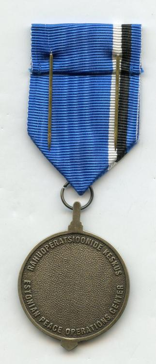 Estonia Estonian Peace Operation Center Medal reverse small size.jpg