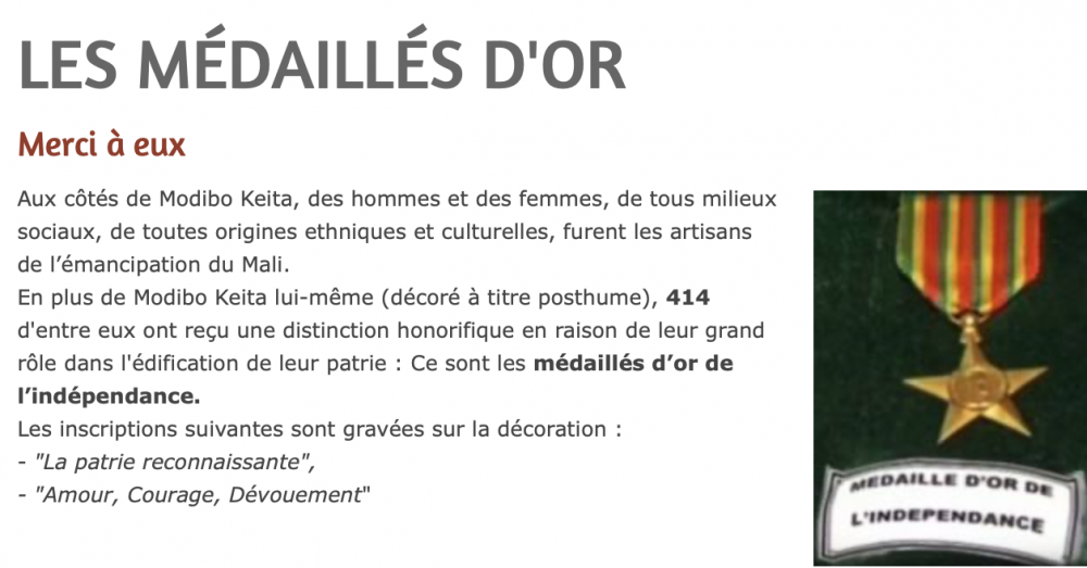 Mali Les Medaille d'Or de l'Indepedence Description.png