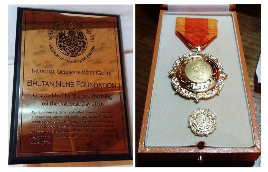 Bhutan National Order of Merit in Gold to Nuns Fundation Award Doc Plaque.jpg