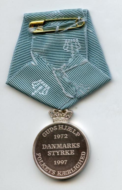 Denmark Queen Margareth II Silver Jubilee Medal 1997 reverse.jpg