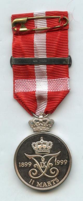 Denmark Frederik IX Centenary Medal 1999 reverse.jpg