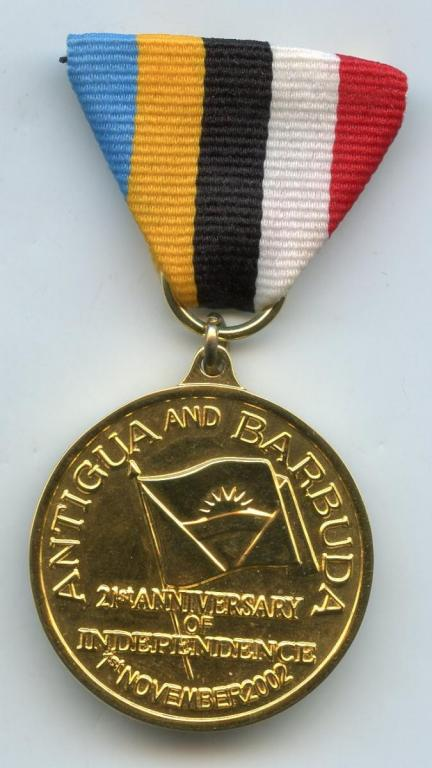 Antigua & Barbuda Medal for 21 Years Independence 2002 Unofficial obverse.jpg