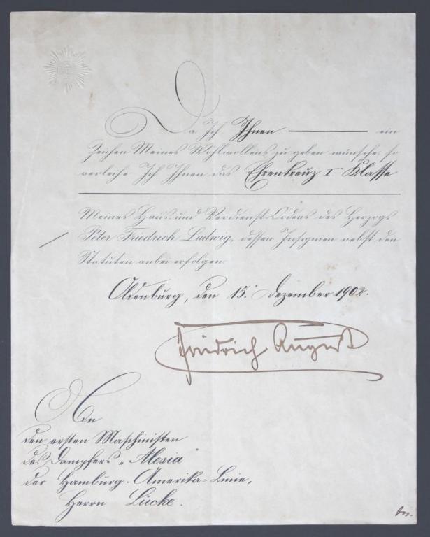 25 Urkunde Oldenburg Ehrenkreuz 1. Klasse 15.12.1902.JPG