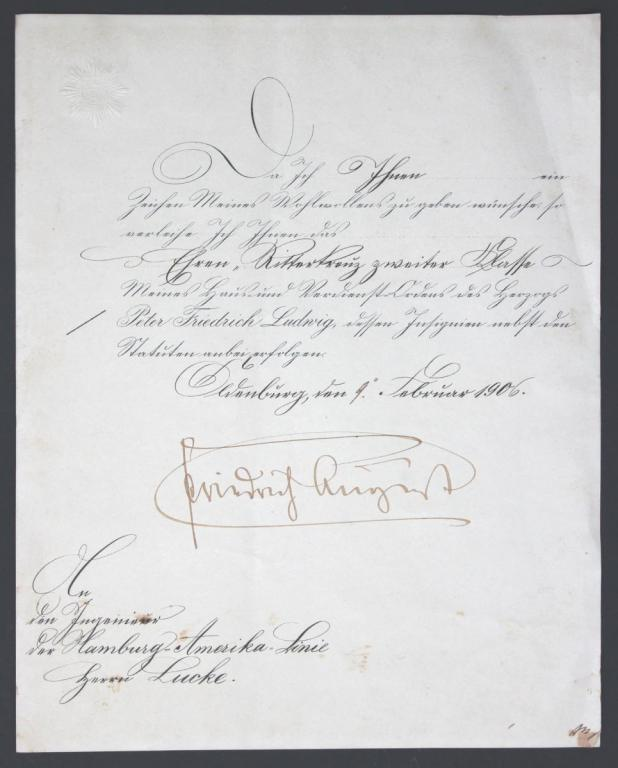 32 Urkunde Oldenburg Ritterkreuz 2. Klasse 9.2.1906.JPG