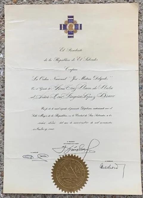 El Salvador Order Jose Mattias Delgado Grand Cross document - copie.jpg