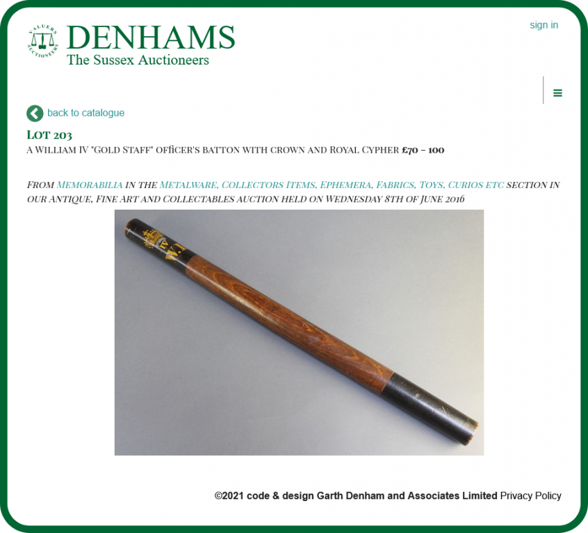 William IV Gold Staff - Lot 203 in the 8th June 2016 antique auction.png