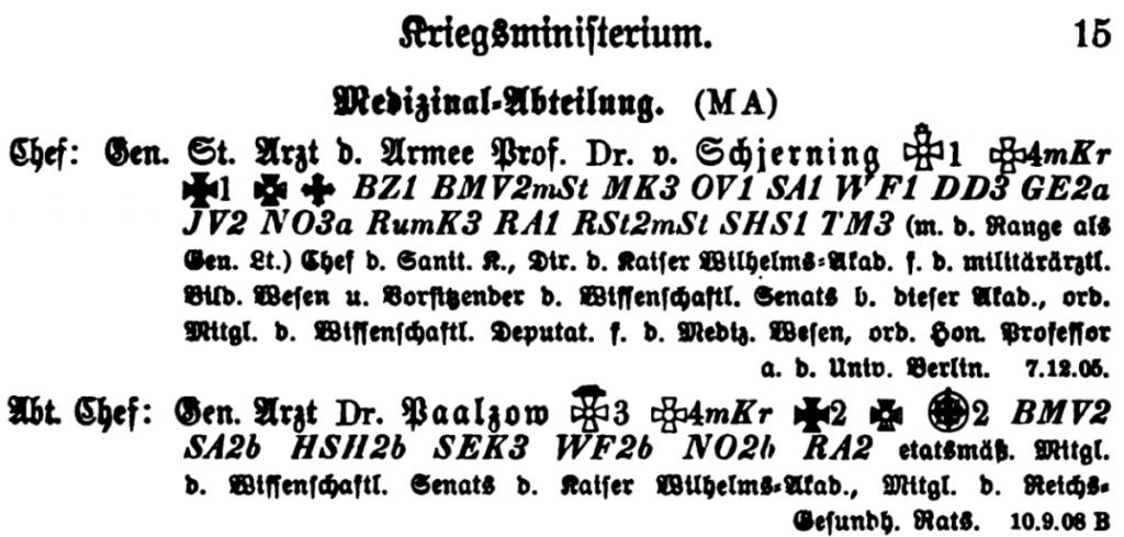 Prof. Dr. med. Otto von Schjerning, Rangliste 1914.png